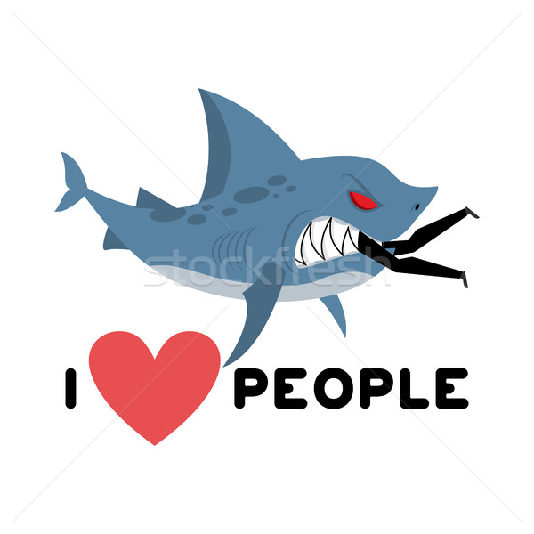 I love people. Shark eats man. Wild sea predator and male. I lik Stock photo © MaryValery