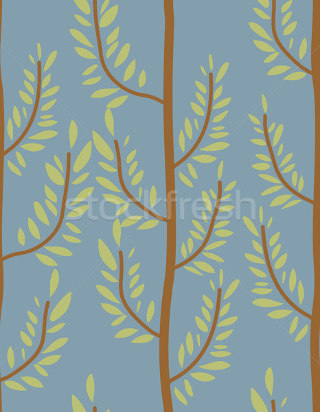 Trees seamless pattern. Trunk and leaf texture. Natural vector b Stock photo © MaryValery