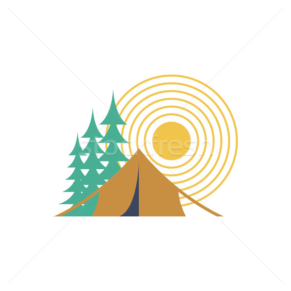 Camping day isolated. Sun, forest and tent Stock photo © MaryValery