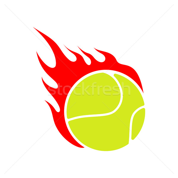 Fire tennis. Flame ball. Emblem game sport team Stock photo © MaryValery