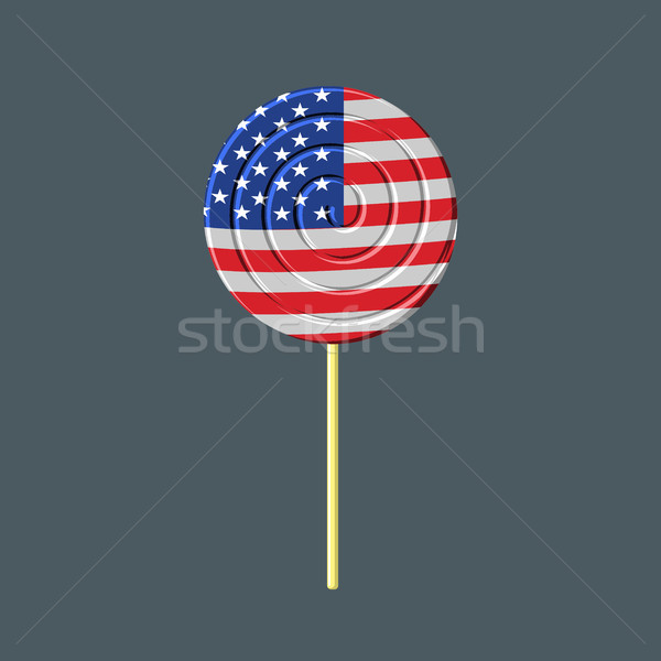 Lollipop with American flag. USA Caramel candy. Patriotic sweetn Stock photo © MaryValery