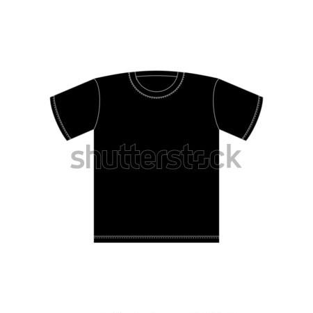 Schwarz Tshirt Vorlage Isoliert Kleidung Weiss
