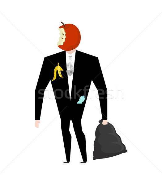 Mr. trash from garbage bag. Boss apple core. litter management.  Stock photo © MaryValery