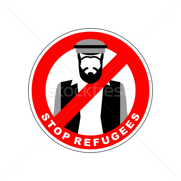 Ban immigrants. Stop refugee. Red Forbidding character. Syrian M Stock photo © MaryValery