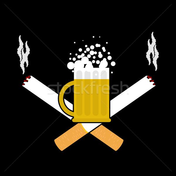 Bière cigarettes alcool fumer signe logo Photo stock © MaryValery