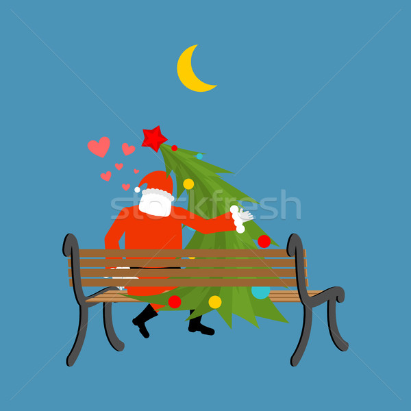 Santa Claus and Christmas tree looking at moon. Christmas date.  Stock photo © MaryValery