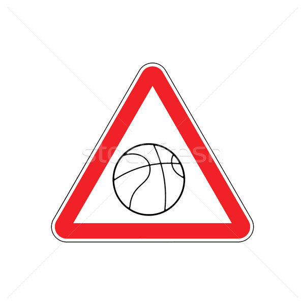Attention basket rouge panneau routier jeu balle Photo stock © MaryValery