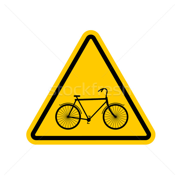 Attention cycliste vélo jaune triangle panneau routier Photo stock © MaryValery