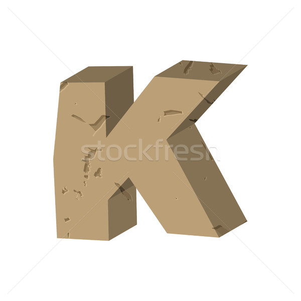Letter K stone font. Rock alphabet symbol. Stones crag ABC sign Stock photo © MaryValery
