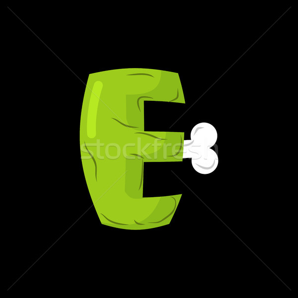 Letter E zombie font. Monster alphabet. Bones and brains letteri Stock photo © MaryValery