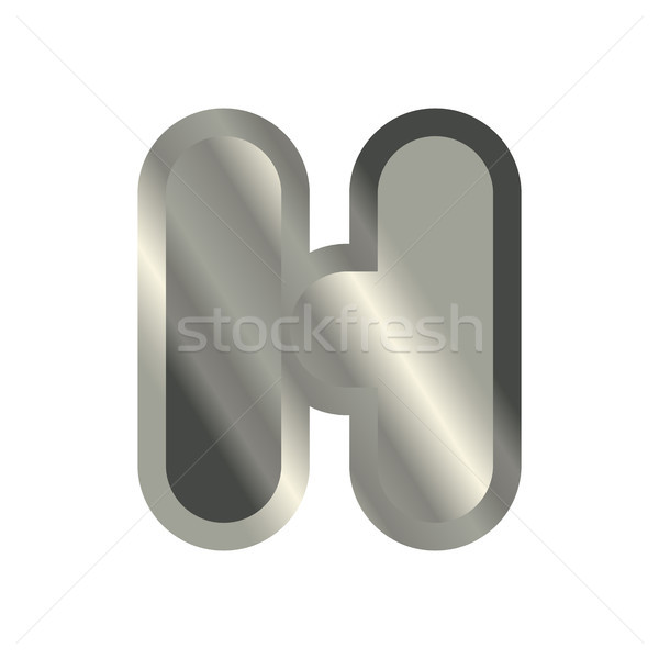 Letter H steel font. Metal alphabet sign. Iron ABC symbol. chrom Stock photo © MaryValery