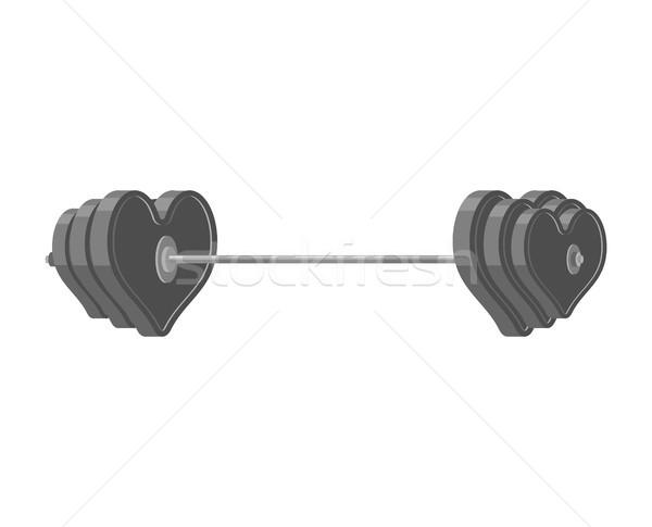 Szeretet súlyzó szív súlyok fitnessz sportok Stock fotó © MaryValery
