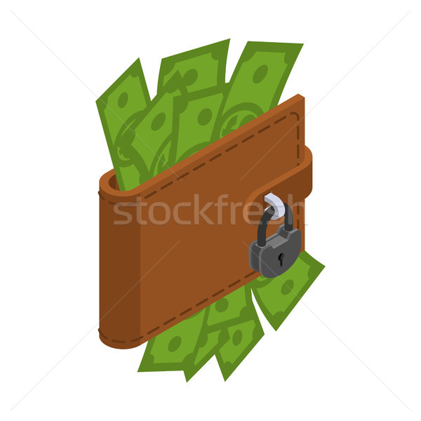 Money is protected. Wallet with cash and padlock. Blocking dolla Stock photo © MaryValery