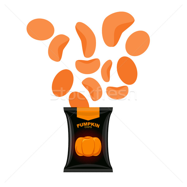 Pumpkin chips. Packaging of vegetable chips. Vegetarian Delicacy Stock photo © MaryValery