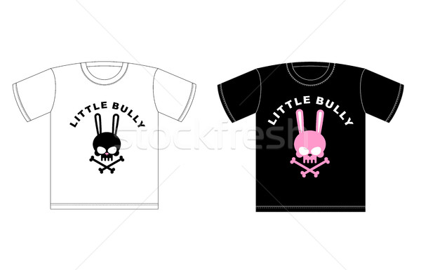 Emblem of Little hooligans. T-shirt design. Cute Rabbit Skull wi Stock photo © MaryValery