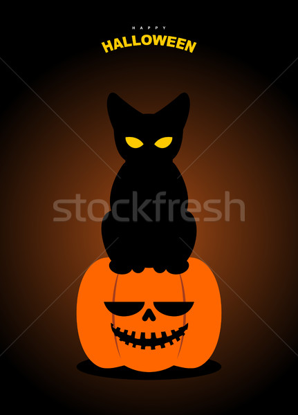 Happy Halloween. Black cat sits on pumpkin at night. Terrible sy Stock photo © MaryValery