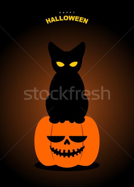 Feliz halloween gato preto abóbora noite terrível Foto stock © MaryValery