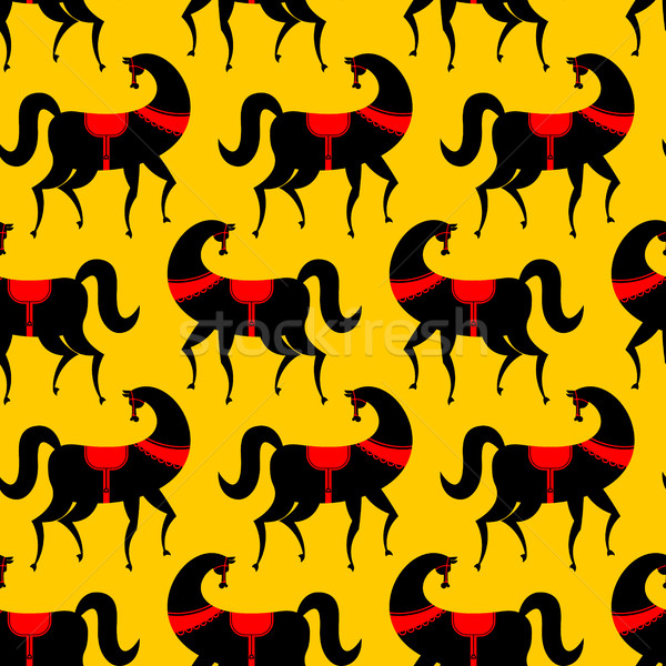 Black Horse Gorodets painting seamless pattern. Russian national Stock photo © MaryValery