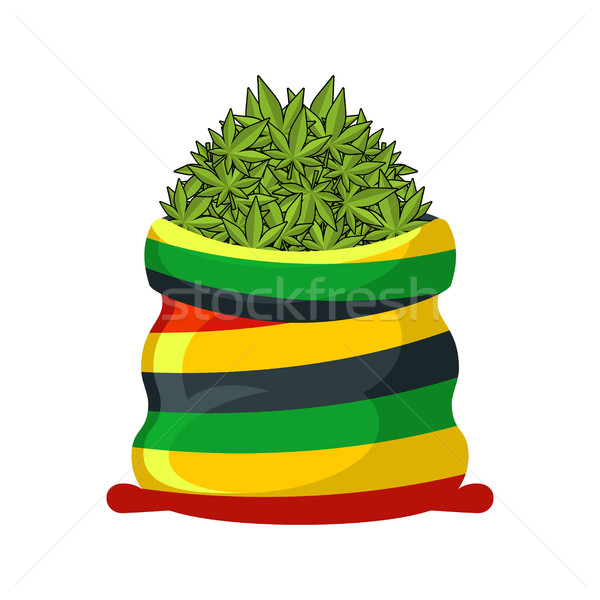 Rasta Sack of cannabis. Large bag of marijuana for Rastaman. Smo Stock photo © MaryValery