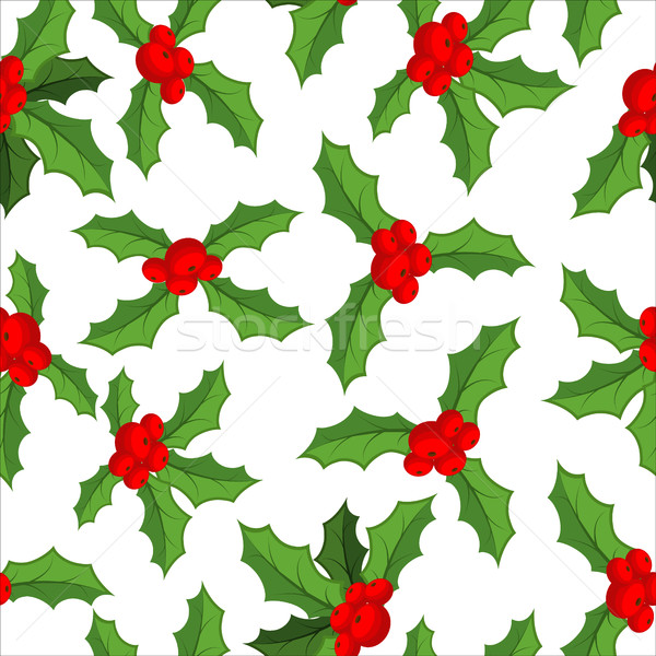 Mistletoe seamless pattern. Traditional Christmas plant backgrou Stock photo © MaryValery
