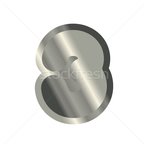 Number 3 steel. Metal font three. Silver alphabet sign. Iron ABC Stock photo © MaryValery