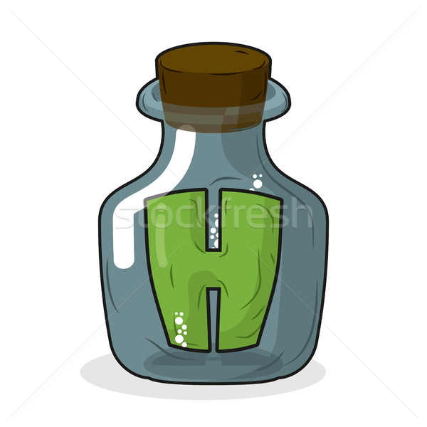 H in laboratory bottle. Letter in magic pot with a wooden stoppe Stock photo © MaryValery