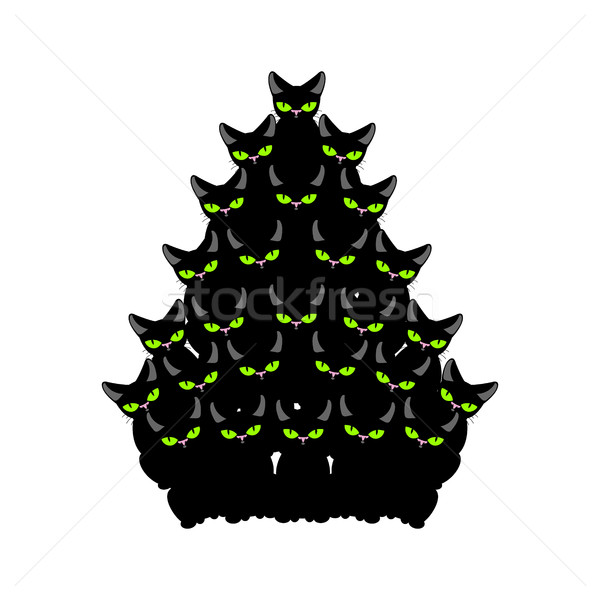 Christmas tree of cats. Spruce of pet. fir-tree from cat. New Ye Stock photo © MaryValery
