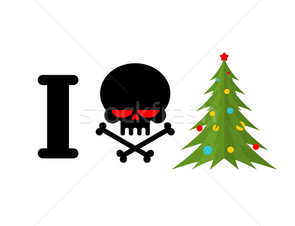 I hate Christmas. Skull and bones symbol of hatred and Christmas Stock photo © MaryValery