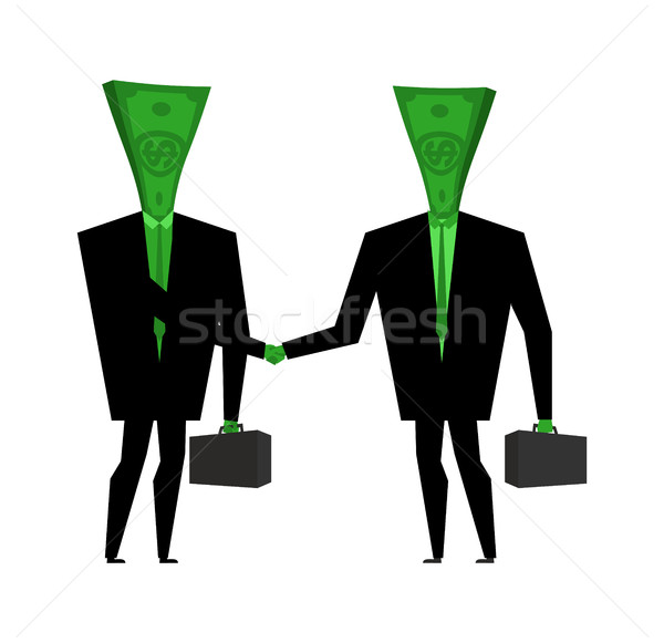 Businessman handshake. Financial greet people. Money transaction Stock photo © MaryValery