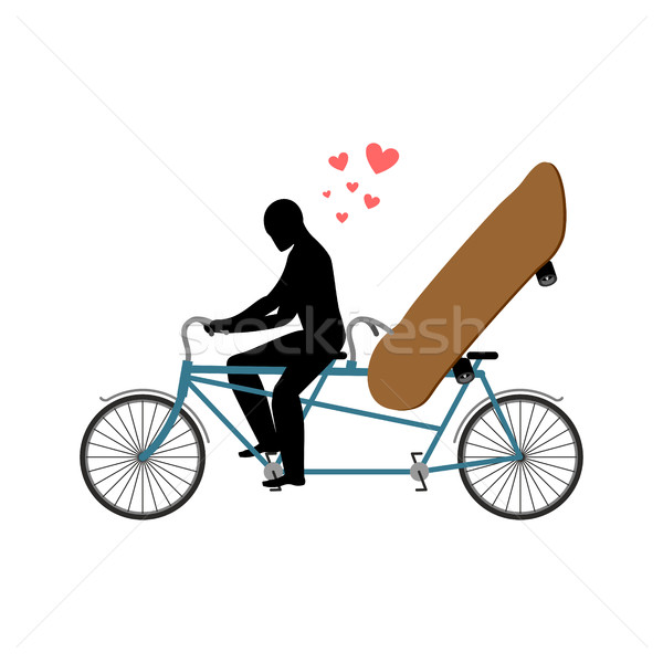 Lover skateboarding. Skateboard and guy on bicycle. Lovers of cy Stock photo © MaryValery