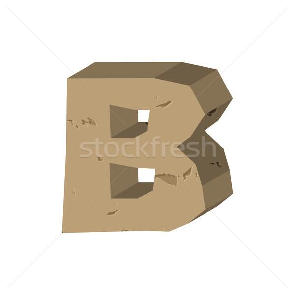 Letter B stone font. Rock alphabet symbol. Stones crag ABC sign Stock photo © MaryValery