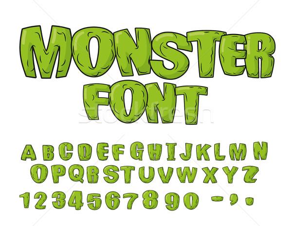 Canavar yeşil korkutucu harfler vektör Stok fotoğraf © MaryValery