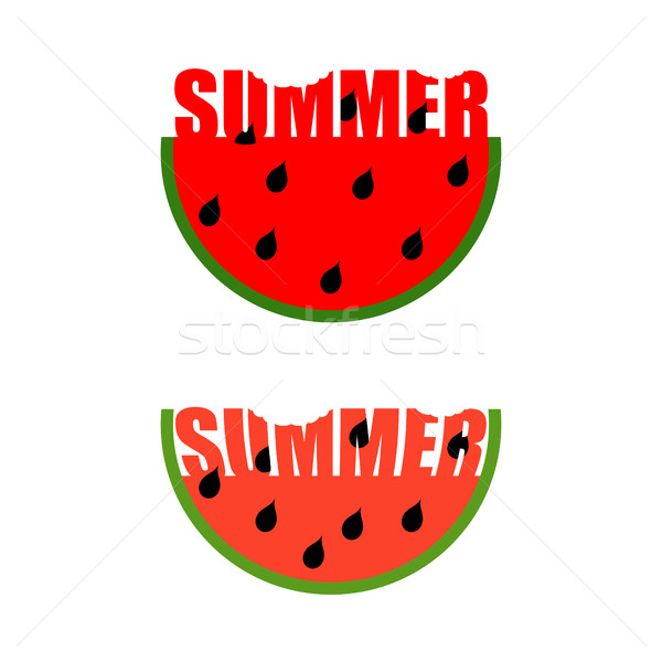 Summer logo. Piece of watermelon with word summer. Traces of tee Stock photo © MaryValery