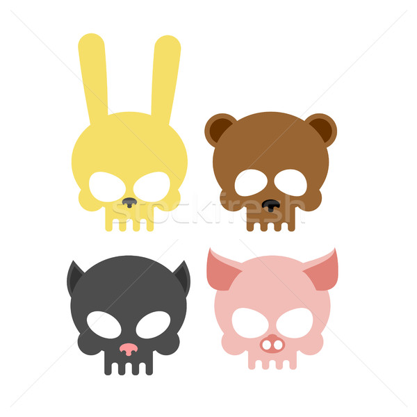 Stock photo: Cute animal skulls. Bear and pig. Head skeleton rabbit and cat.