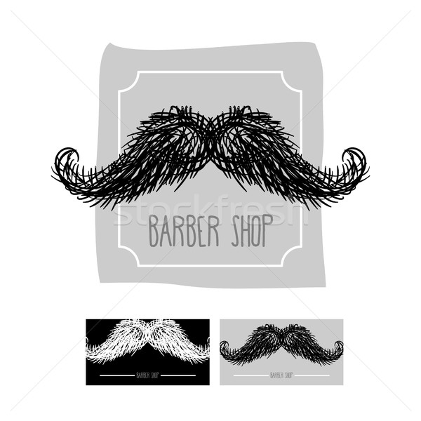 Barber Shop logo. Emblem with a mustache. Vector illustration se Stock photo © MaryValery