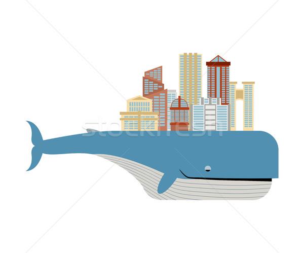 Miasta powrót wielorybów metropolia duży ryb Zdjęcia stock © MaryValery