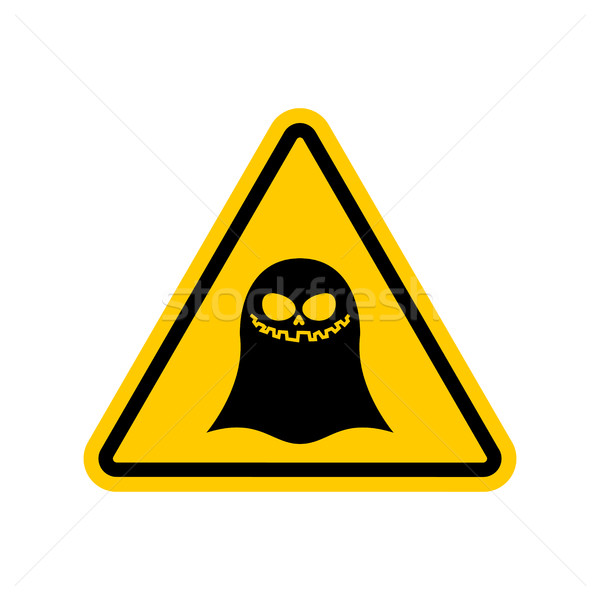 Attention ghost. Dangers of yellow road sign. spook Caution Stock photo © MaryValery