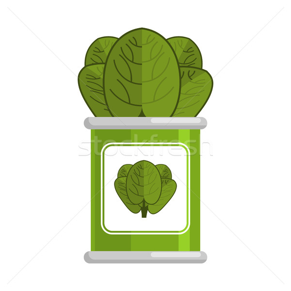 Spinach tin.	vegetarian food. Green leaves on white background Stock photo © MaryValery