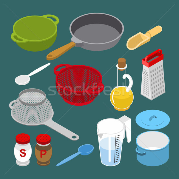 Stock photo: Ingredients and utensils set isometry. Grater and colander. Pan