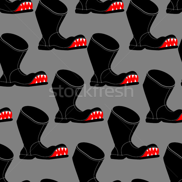 Broken boot seamless pattern. Toothy old shoes with hole backgro Stock photo © MaryValery