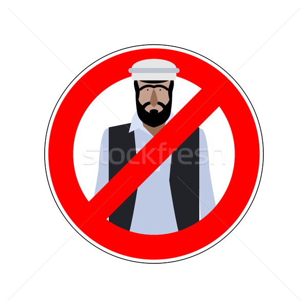 Stop refugees. Emigrants passage prohibited. Prohibiting sign fo Stock photo © MaryValery