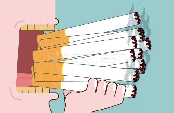 Férfi cigaretta sok nikotin nyitva száj Stock fotó © MaryValery