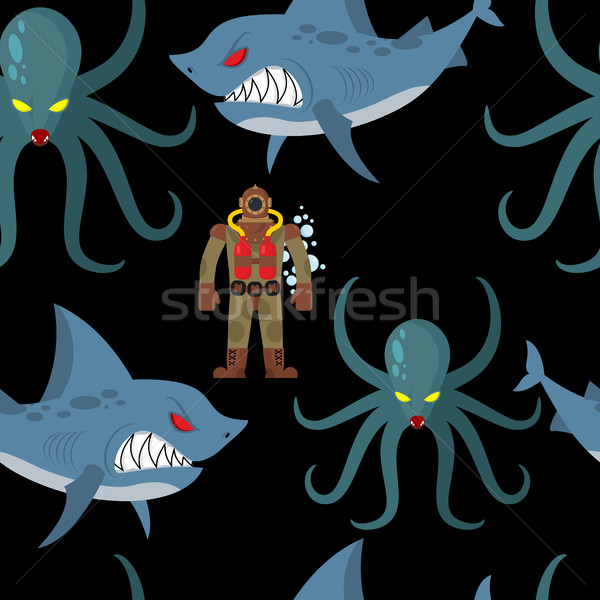 Diver in old diving suit and sea monsters seamless pattern. Wick Stock photo © MaryValery