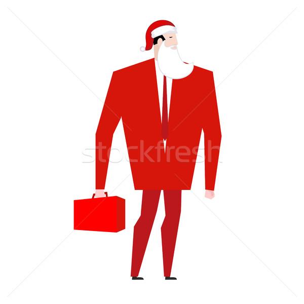 Baas kerstman vals baard Rood cap Stockfoto © MaryValery