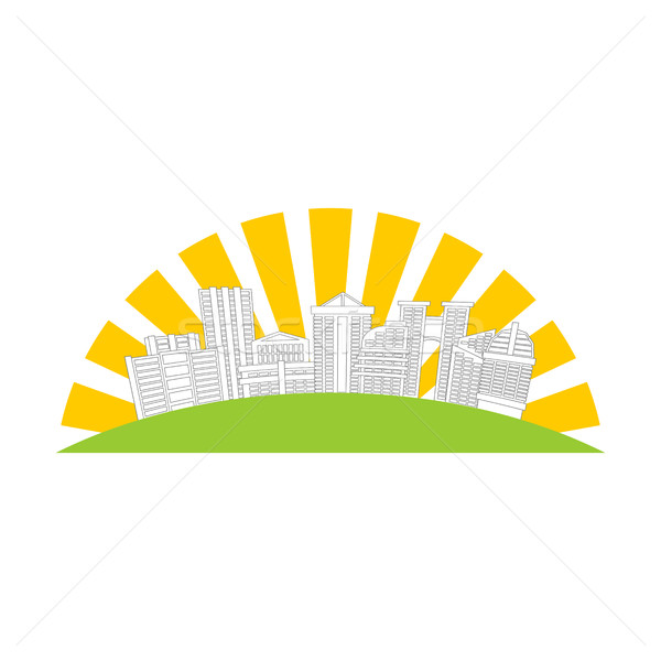 City logo. New house emblem. building and sun. Sign for construc Stock photo © MaryValery