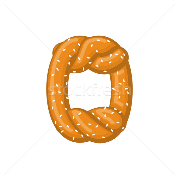 Letter O pretzel. snack font symbol. Food alphabet sign. Traditi Stock photo © MaryValery
