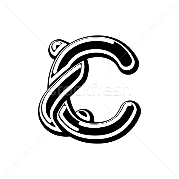 Letter C Celtic font. norse medieval ornament ABC. Traditional a Stock photo © MaryValery