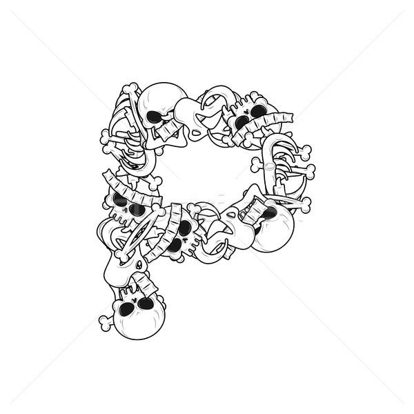 Skelet botten doopvont anatomie alfabet Stockfoto © MaryValery