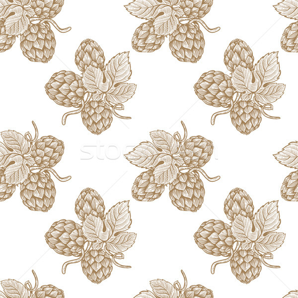 Seamless pattern with hand drawn beer hop. Design element for poster, card, banner, flyer.  Stock photo © masay256