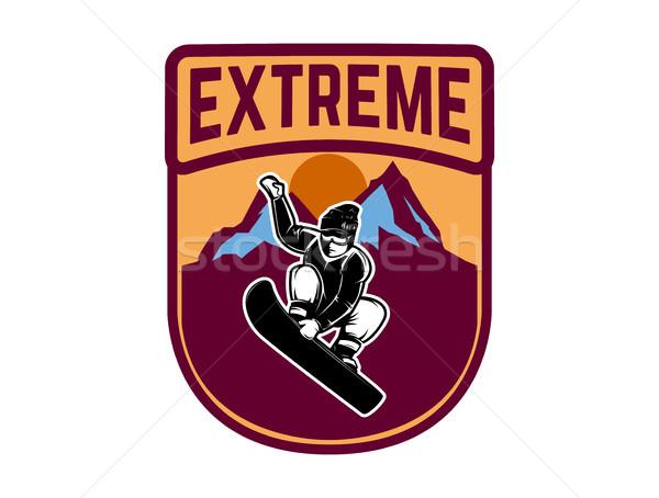 Snowboard amblem logo etiket Stok fotoğraf © masay256